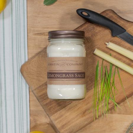 16oz Jar of Lemongrass Sage Soy Candle
